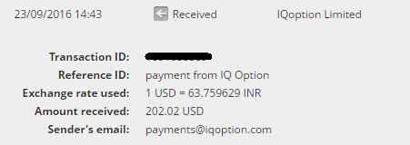 iq option withdrawal proof